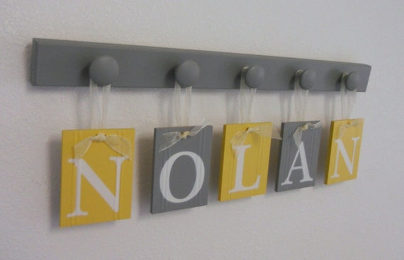 Yellow Grey Nursery Wooden Wall Letters Sign Set Includes 5 Wooden Pegs in Yellow and Gray. Personalized Hanging Ribbon Letters for NOLAN
