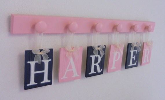 Childrens Personalized Decor Name Signs Includes Peg Hooks and