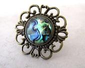 Paua Ring, Abalone Ring, Sea Shell Ring, Shell Ring, Statement Ring, Peacock Ring