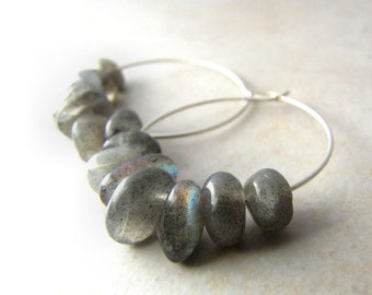 Labradorite Earrings, Gemstone Earrings, Crystal Earrings, Hoop Earrings