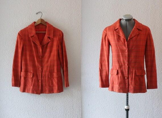 Reserved - 1960s orange check linen blazer