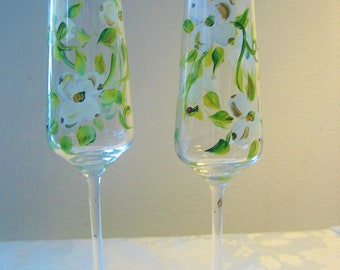 Two hand painted champagne flutes with dogwood design, wedding flutes , white and gold