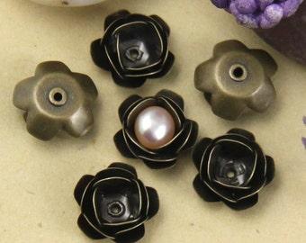 8pcs Bronze 3D Rose Flower Bead Cap Charm