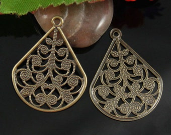 10pcs Brass Filigree Earring Drop Charm-ER05