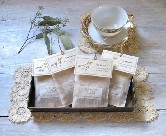 Tea Sampler • Handmade Individual Tea Bags (6, 12, 18 or 24) You Choose the Flavors • Tea-rrific Party Favor
