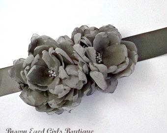 Grey Bridal Sash, Bridal Sash, Wedding Belt, Bridal Belt -Grey Chiffon Bridal Sash Flowers