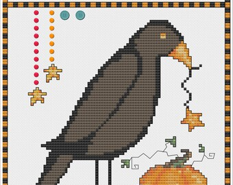 Crow Harvest Counted Cross Stitch Instant Downloads