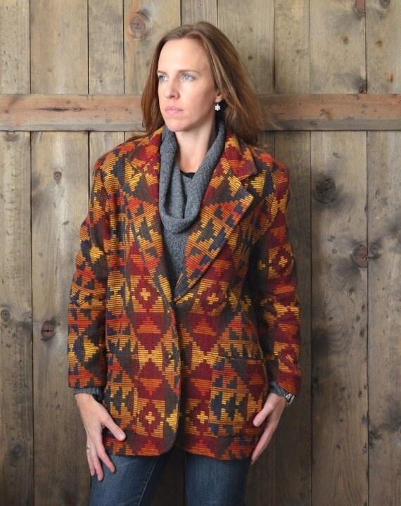 Vintage 80s burgundy burnt orange southwestern navajo jacket / oversized womens small medium