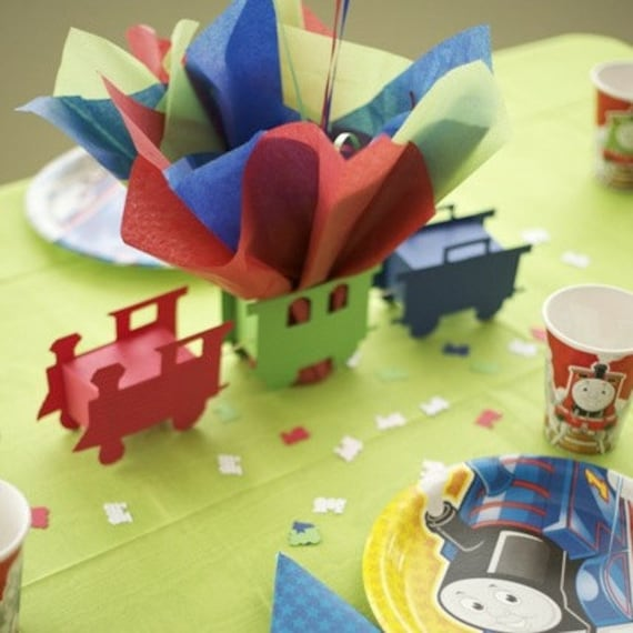 Train Themed Birthday Party Centerpiece With Personalized