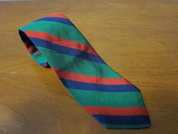 Andover Shop Green Red Blue Regimental Stripe Repp Necktie