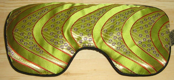 Silk Eye Mask Sinus Pack, SINUSEASE Eucalyptus Lavender Peppermint, Natural Relaxing Soothing Aid for HEADACHES, SINuS - Lime Wave Silk