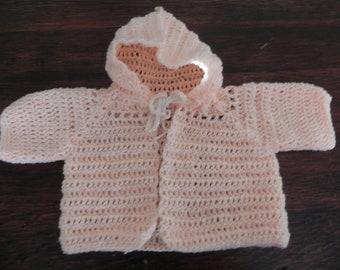 Newborn baby crocheted hoody sweater **CLEARANCE**