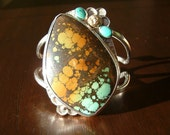 SALE**Large Sterling Silver Green Turquoise Cuff Bracelet