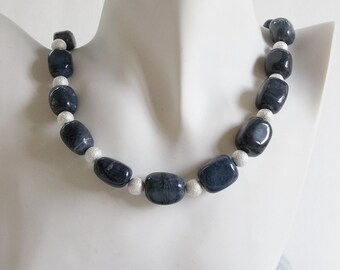 Chunky Blue Bloodstone and Sterling Silver Stardust Beads Necklace