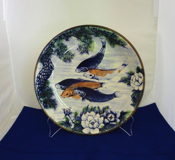 Koi fish wall art home decor hand painted ceramic bowl for Koi carp wall art
