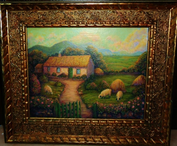 Irish Cottage Painting:  John Waynes White O Morn cottage from Quiet Man movie with sheep