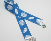 Shell and Starfish Ribbon Bookmark With Fresh Water Pearls