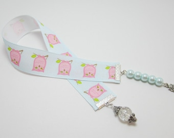 Owl Ribbon Bookmark Pink Owls Baby Blue Ribbon Glass Pearls Owl Charms ON SALE!! 125B