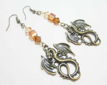 Medieval Dragon Fantasy Earrings Bronze Goth Fairy Steampunk Swarovski Elements Cubes and Bicones
