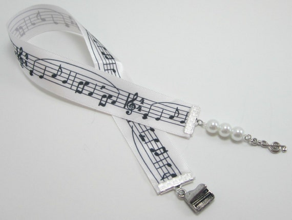 Musical Note Ribbon Bookmark With Piano and Treble Clef Charms
