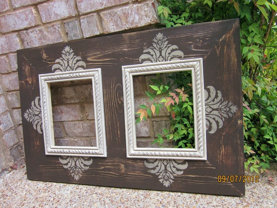 items similar to double 8x10 distressed picture frame asphaltum linen on etsy