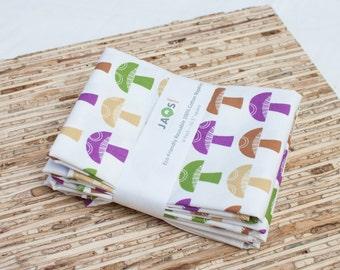 Large Cloth Napkins - Set of 4 - (N1061) - Mushrooms Modern Reusable Fabric Napkins