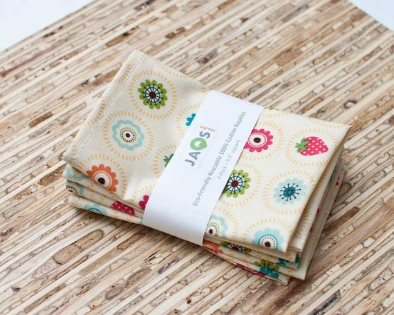 Eco-Friendly Small Cloth Napkins - Set of 4 - (N511s)