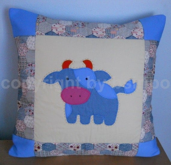 Handmade lovely COW Quilted Patchwork Decorative Pillow Cover Blue Color