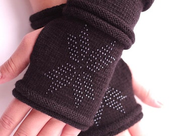 Very soft and cozy  brushed virgin wool beaded fingerless gloves, wrist warmers in black with a star