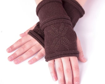 Hand knitted PURE merino wool beaded fingerless gloves, wrist warmers, arm warmers, fingerless mittens in brown with a star - READY to ship