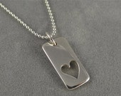 Sterling Silver Heart Cutout Tag Necklace