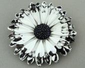 RESERVED LISTING Vintage Enamel Flower Brooch 1960s 1970s White Black Tipped Ruffly FLoWeR PoWeR Hippie Chic Brooch