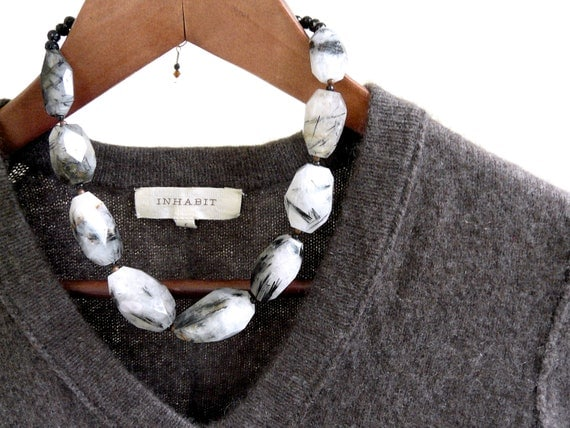 reserved...PEAK. black and white tourmalinated quartz, faceted onxy and silver necklace