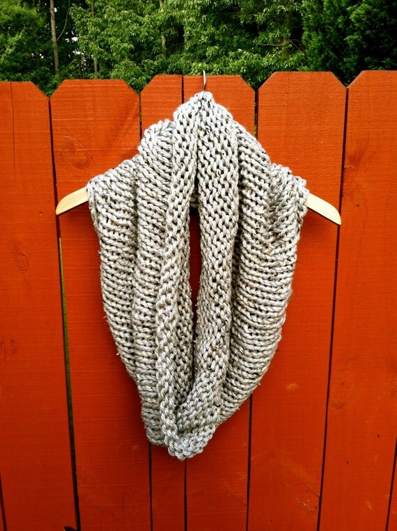 handmade OVERSIZED cowl GREY TWEED cowl circle scarf