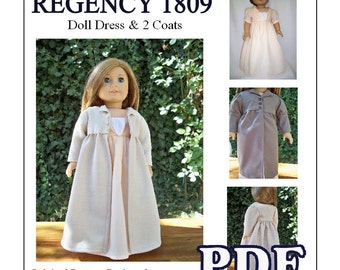 1809 Regency Pleated Dress with 2 Coat Patterns for American Girl or 18 inch Doll - INSTANT DOWNLOAD