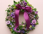 NOW on SALE  Pretty in Purple Handmade Dollhouse Wreath for You