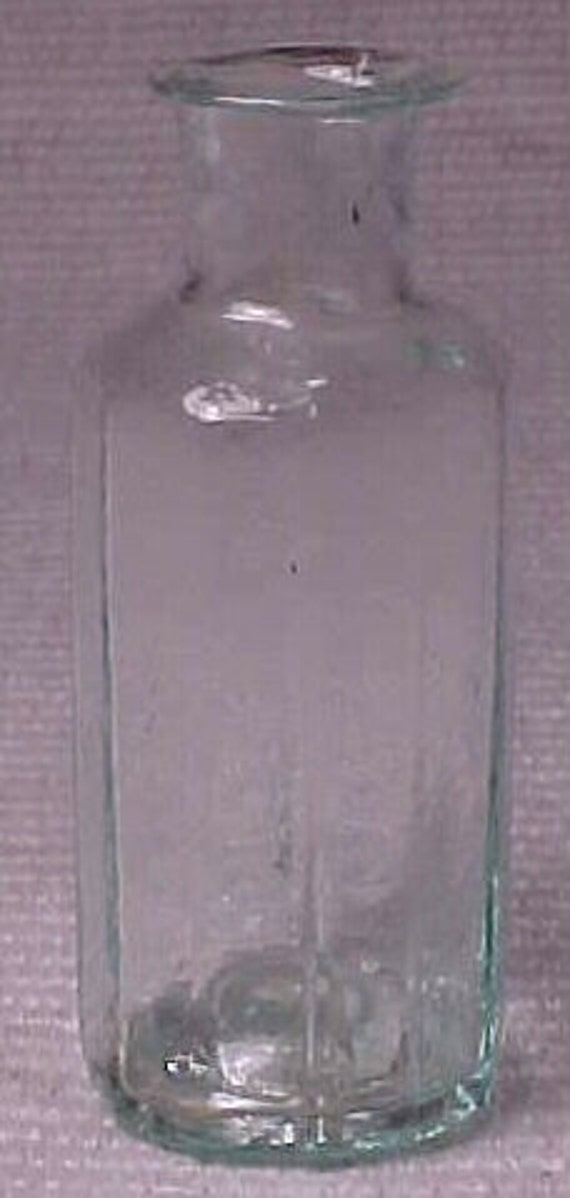 c1840s Miniature 2 3/8 Inch Tall Twelve Sided Aqua Blown Glass Cork Top Open Pontil Medicine Bottle