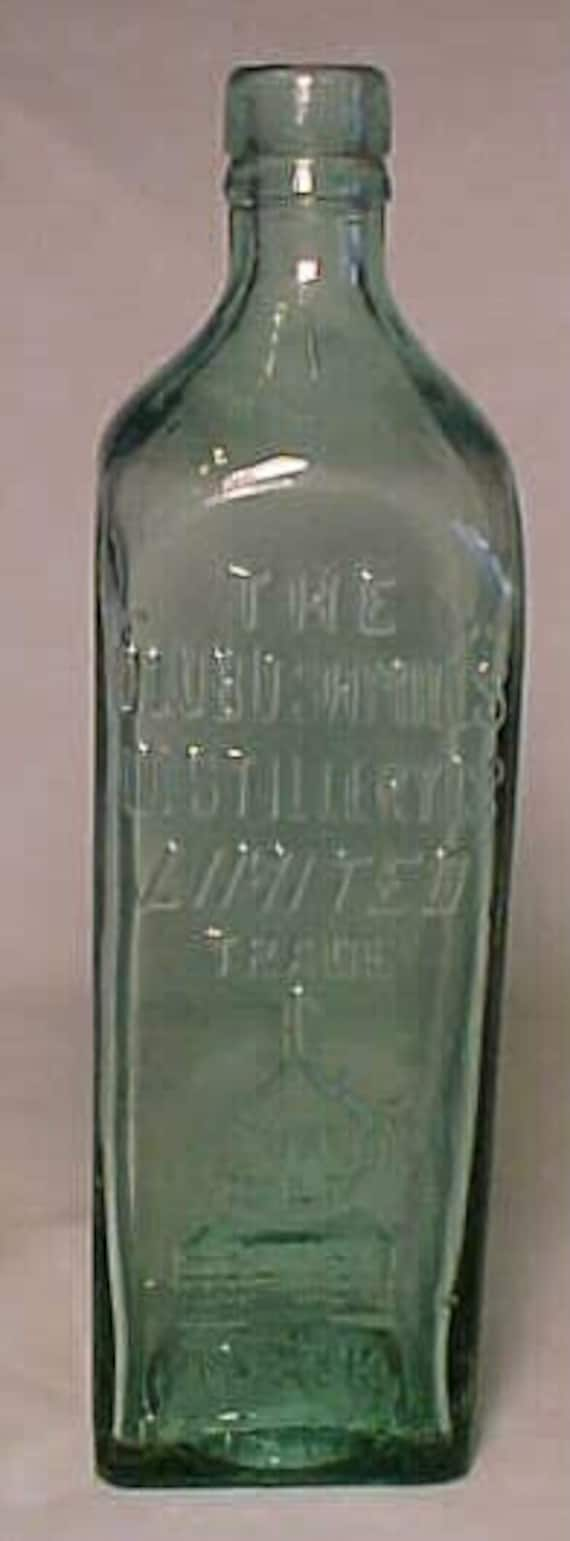 c1890s The Old Bushmills Distillery Co. Scotland , Aqua Cork Top Blown Glass Whiskey Bottle with Applied Lip