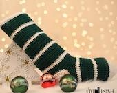 Crochet Christmas Stripped Stocking-Evergreen-Eggshell