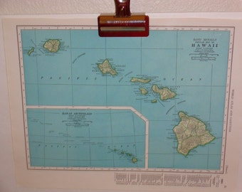 """Vintage 1947 map page Panama Canal (front) Hawaii (back) just shy of 11""""x14"""""""