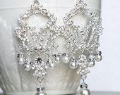 Bridal Earring Wedding Earring Rhinestone Chandelier Earrings Crystal Pearl Chandelier Earrings Bridal Wedding Jewelry ER041LX