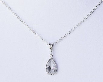 Bridal Rhinestone Necklace with Sterling Silver Chain Simple Wedding Crystal Cubic Zirconia Jewelry NK024LX