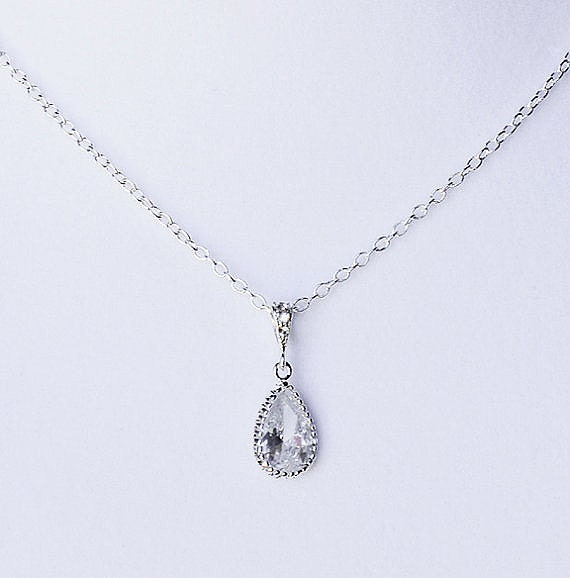 Bridal Rhinestone Necklace With Sterling Silver Chain Simple