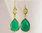 Green Onyx Earrings - Peridote earrings - Gemstone earrings - Gold drop earrings - Dangle Earrings