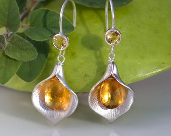 Citrine Earrings - November Birthstone Earrings - Calla Lily Earrings - Silver Earrings - Nature Inspired Jewelry