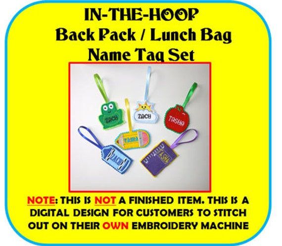 Items Similar To In The Hoop Back Pack Name Tag Embroidery