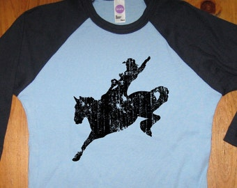 Horse Shirt - Kids Shirt - Farm Shirt Kids T Shirt - Raglan Tee Shirt - Cowboy Shirt - Sizes 2T, 4T, 6,  - Gift Friendly