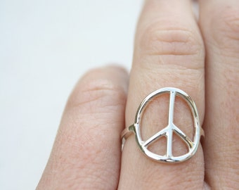 peace sign ring sterling silver ring delicate ring feminine jewelry boho jewelry peace ring