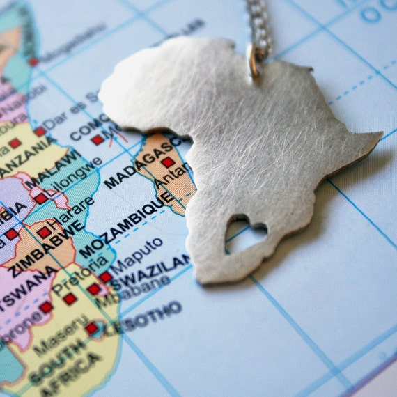 African pendant / Africa necklace / Africa with heart / sterling silver map of Africa / African Love