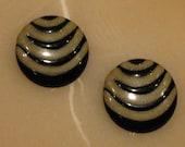 SALE Retro Black And Gold Enamal Earrings